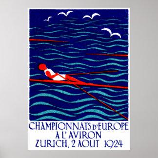 Poster 1924 del Rowing de Zurich