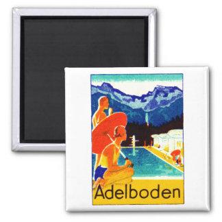 Poster 1925 de Adelboden Suiza Imán Cuadrado