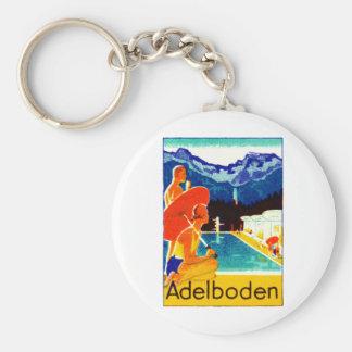 Poster 1925 de Adelboden Suiza Llavero Redondo Tipo Pin