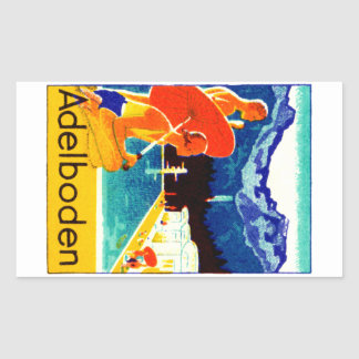 Poster 1925 de Adelboden Suiza Pegatina Rectangular