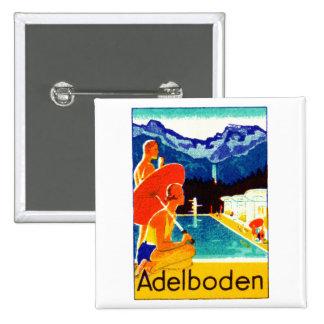 Poster 1925 de Adelboden Suiza Pin Cuadrada 5 Cm