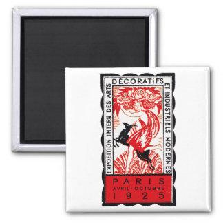 Poster 1925 del art déco de París Imán Cuadrado