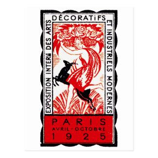 Poster 1925 del art déco de París Postal