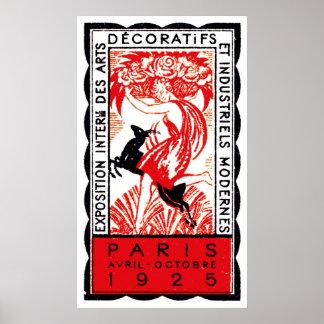 Poster 1925 del art déco de París Póster