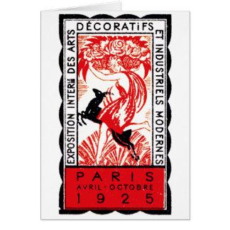 Poster 1925 del art déco de París Tarjeton