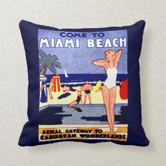 Poster 1925 del viaje de Miami Beach Cojín