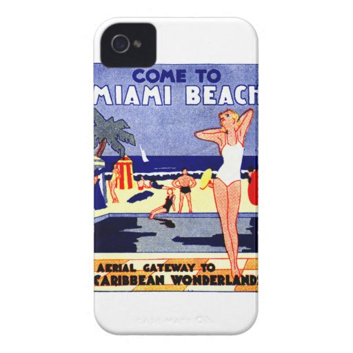 Poster 1925 del viaje de Miami Beach iPhone 4 Cárcasa