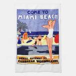 Poster 1925 del viaje de Miami Beach Toallas De Mano