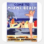 Poster 1925 del viaje de Miami Beach Calcomanía Cuadrada