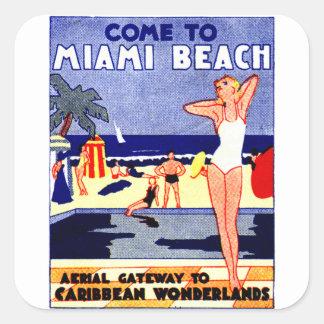 Poster 1925 del viaje de Miami Beach Calcomanías Cuadradas Personalizadas