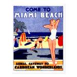 Poster 1925 del viaje de Miami Beach Tarjeta Postal