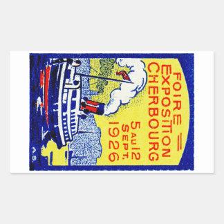 Poster 1926 de Cherbourg Francia Pegatina Rectangular