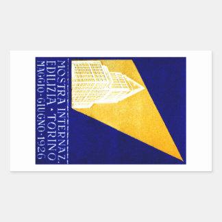Poster 1926 de la expo del edificio de Turín Pegatina Rectangular
