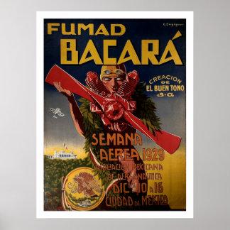 """Poster 1929 de la aviación """"Fumad Bacara """""""