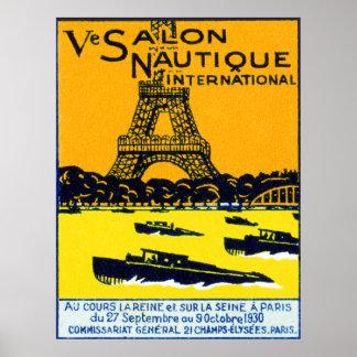 Poster 1930 de la demostración del barco de París