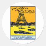 Poster 1930 de la demostración del barco de París Etiqueta Redonda