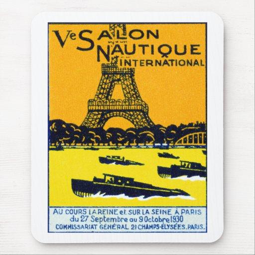 Poster 1930 de la demostración del barco de París Tapetes De Ratón