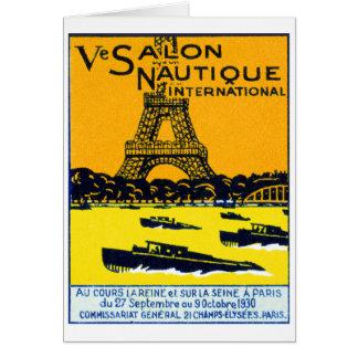 Poster 1930 de la demostración del barco de París Tarjetón