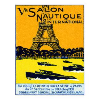 Poster 1930 de la demostración del barco de París Tarjeta Postal