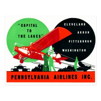 Poster 1930 de las líneas aéreas de Penn Tarjeta Postal