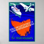 Poster 1930 del viaje de Tasmania