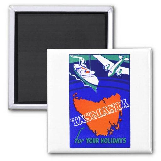 Poster 1930 del viaje de Tasmania Imán Cuadrado