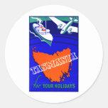 Poster 1930 del viaje de Tasmania Etiquetas Redondas