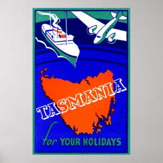 Poster 1930 del viaje de Tasmania Póster