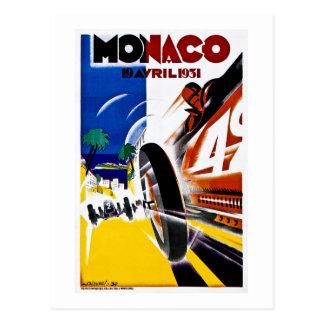 Poster 1931 de la raza del vintage de Mónaco Grand Postal