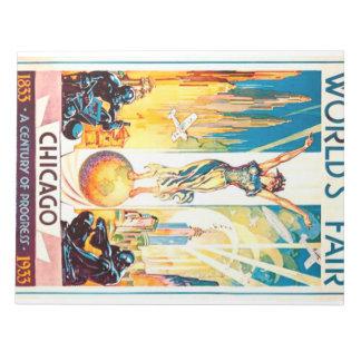 Poster 1933 de Chicago de la feria de mundos del Bloc De Papel