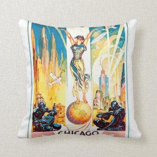 Poster 1933 de Chicago de la feria de mundos del Cojines
