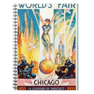 Poster 1933 de Chicago de la feria de mundos del Libro De Apuntes