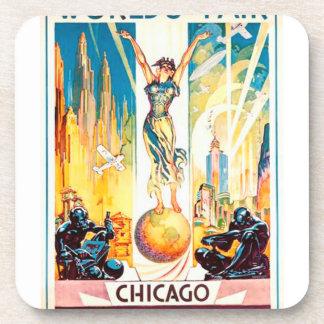 Poster 1933 de Chicago de la feria de mundos del Posavasos De Bebidas