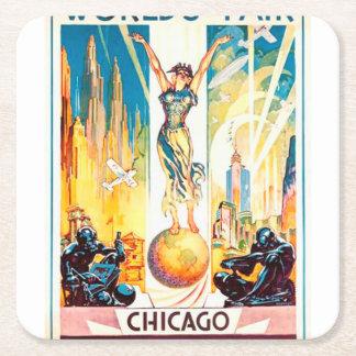 Poster 1933 de Chicago de la feria de mundos del Posavasos De Cartón Cuadrado