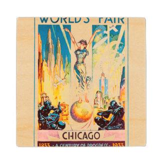 Poster 1933 de Chicago de la feria de mundos del Posavasos De Madera