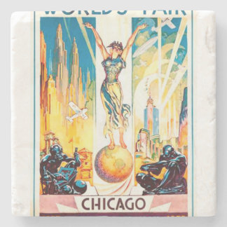Poster 1933 de Chicago de la feria de mundos del Posavasos De Piedra