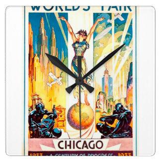 Poster 1933 de Chicago de la feria de mundos del Reloj Cuadrado