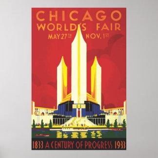 Poster 1933 de la feria de mundos de Chicago del v