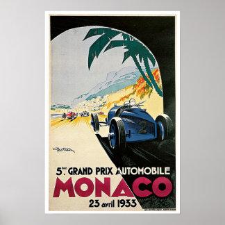 Poster 1933 del viaje del vintage de Mónaco Grand
