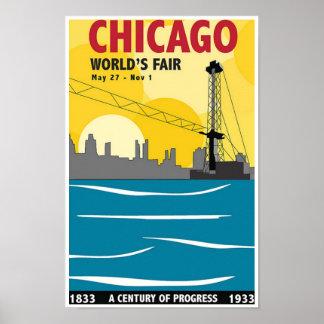 Poster 1933 del vintage de la feria de mundo de Ch