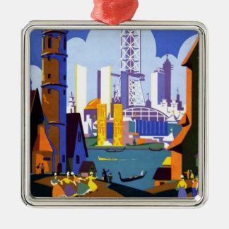 Poster 1934 del viaje de la feria mundial de adorno cuadrado plateado