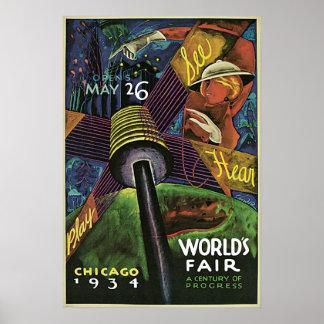 Poster 1934 del vintage de la feria de mundo de Ch