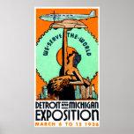 Poster 1936 de la expo de Detroit Michigan