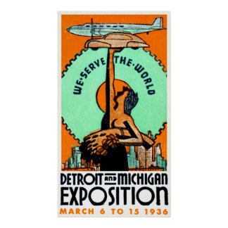 Poster 1936 de la expo de Detroit Michigan Póster