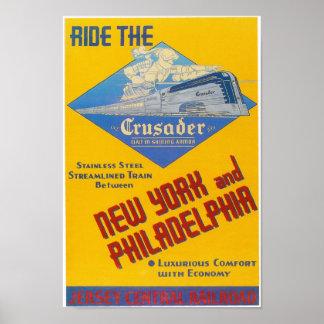 Poster 1937 del tren del cruzado del ferrocarril d