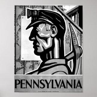 Poster 1938 de WPA del poster del carbón de Pennsy