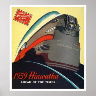 Poster 1939 de la locomotora de Hiawatha