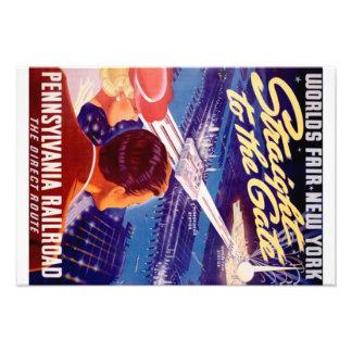 Poster 1939 de Nueva York de la feria de mundos Cojinete