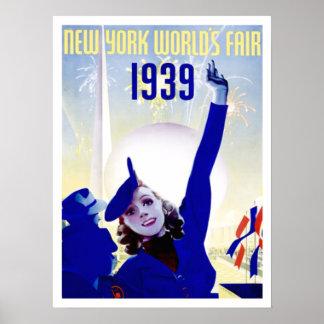 Poster 1939 del vintage de la feria de mundo de Nu