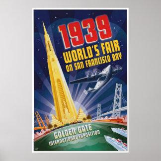 Poster 1939 del vintage de la feria de mundo de Sa